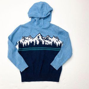 Old Navy Blue Snowy Mountain Hooded Sweater